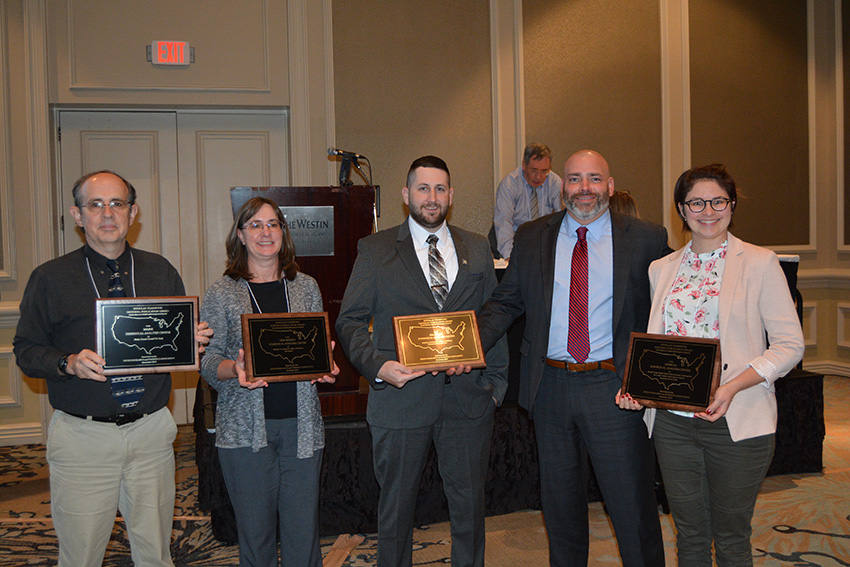 Photo of winners of the Statistical Analysis Centers (SACs) in Delaware, Georgia, Maine and New Mexico Win 2019 Douglas Yearwood National Publication Award for outstanding reports, courtesy of The Justice Research and Statistics Association (JRSA) newsletter website